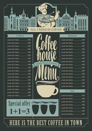 coffee house: coffee house menu for a price list and a chef and a tray