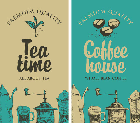 kitchen equipment: set of vector banners on the theme of tea and coffee with pictures of kitchen equipment
