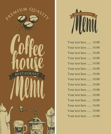 kitchen equipment: vector menu of coffee house with pictures of kitchen equipment