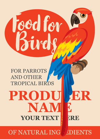 funny pictures: label design feed tropical birds with a picture of a parrot