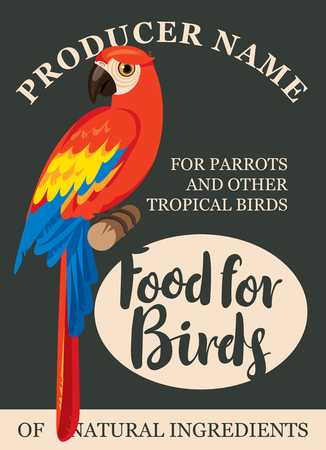 label design: label design feed tropical birds with a picture of a parrot