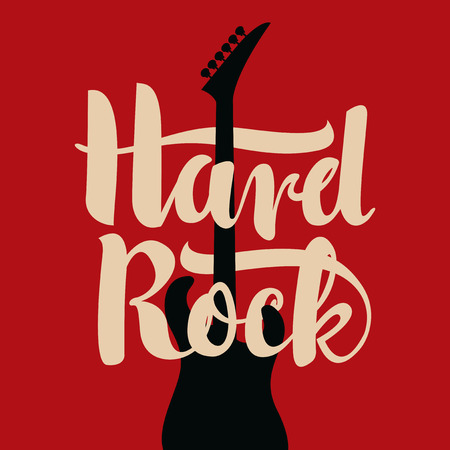 banner with an electric guitar and the words Hard Rock Illustration
