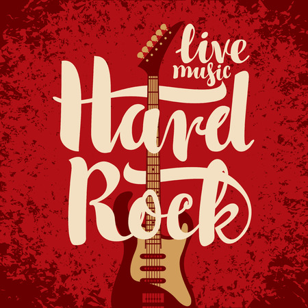 hard rock: banner with an electric guitar among flowers roses and the words Hard Rock Illustration