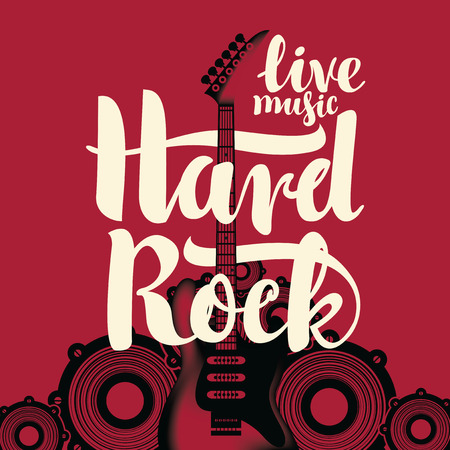 banner with an electric guitar and the words Hard Rock against the of the audio speakers Illustration