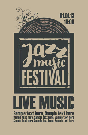 vinyl record: poster for the jazz festival with vinyl record