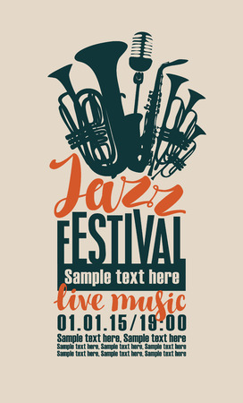poster for the jazz festival with saxophone, wind instruments and a microphone Vettoriali