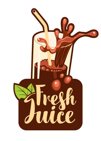 vector banner with a glass of fresh juice Illustration