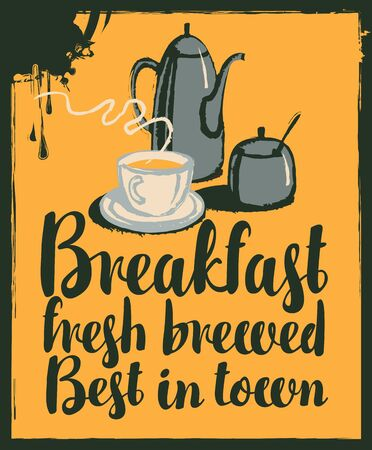 breakfast cup: vector banner for a cafe with breakfast with a teapot and cup of tea Illustration