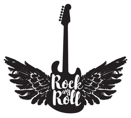 gitara: Logo z gitarą elektryczną i rock and roll słowa ze skrzydłami Ilustracja