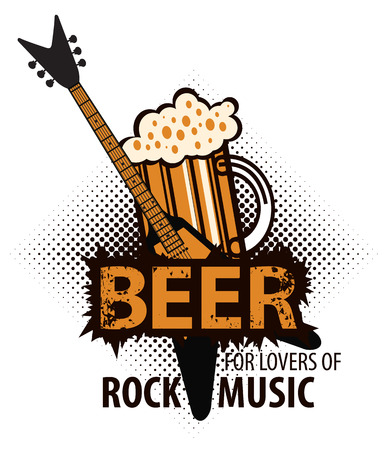 beer for lovers of rock music with a glass and electric guitar