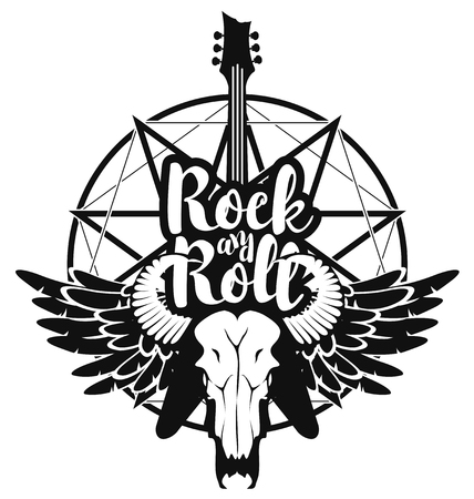 pentagrama musical: vector illustration with an electric guitar and skull of goat and wings with inscription rock and roll