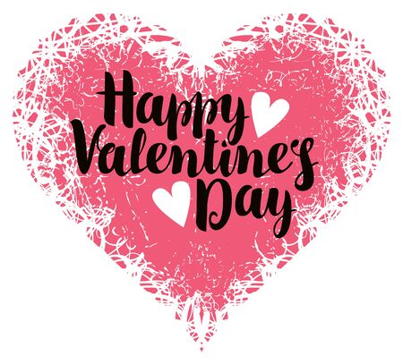 vector greeting card with inscription happy valentines day with hearts Иллюстрация