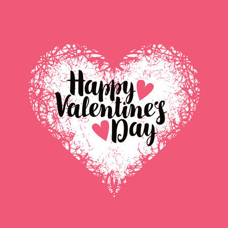 vector greeting card with inscription happy valentines day with hearts Vettoriali