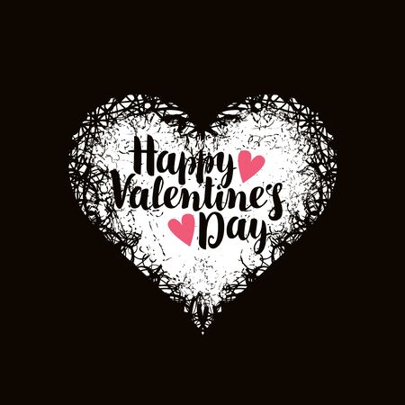 infatuated: vector greeting card with inscription happy valentines day with hearts Illustration
