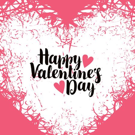 tarjeta de felicitación del vector con el día Inscripción feliz San Valentín con corazones