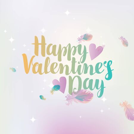vector greeting card with inscription happy valentines day with hearts on the background of feathers and stars