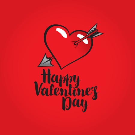 vector greeting card with inscription happy valentines day with heart pierced by an arrow