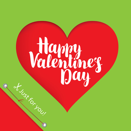 infatuated: vector greeting card with inscription happy valentines day and hearts