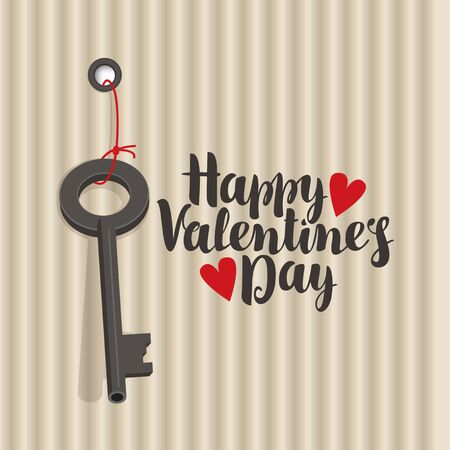 vector greeting card with inscription happy valentines day with hearts and key Illustration