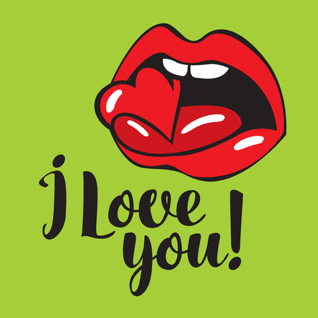 vector banner with inscription i love you with with human mouth biting heart