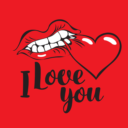 nibble: vector banner with inscription i love you with with human mouth biting heart