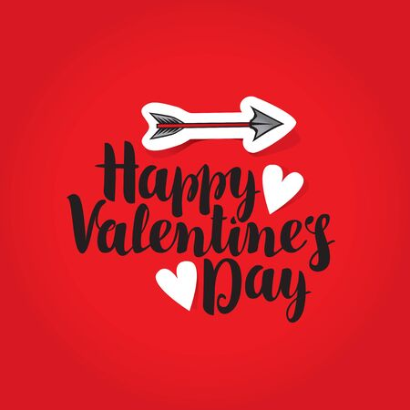 vector greeting card with inscription happy valentines day with hearts and arrow Illustration