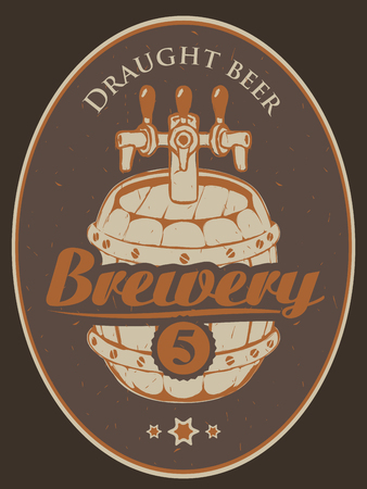 label for the brewery with a beer barrel