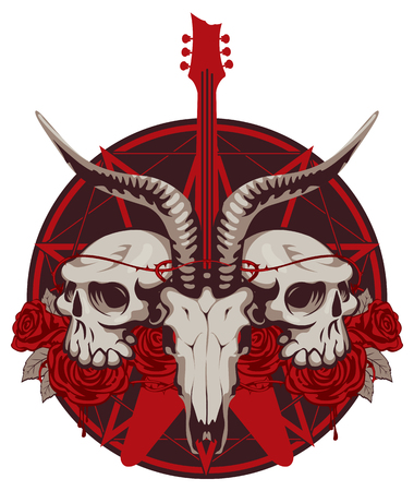 pentagramma musicale: vector illustration with an electric guitar and skull of goat and human with roses