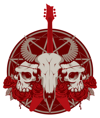 pentagrama musical: vector illustration with an electric guitar and skull of goat and human with roses