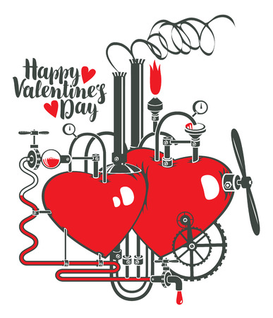 vector greeting card with inscription happy valentines day and Two hearts connected by different mechanisms and pipes