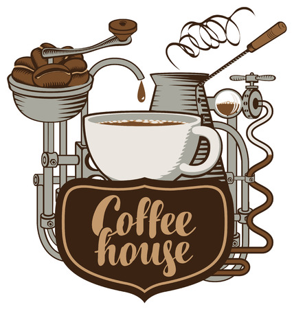 banner for coffee house with a cup and coffee machine in retro