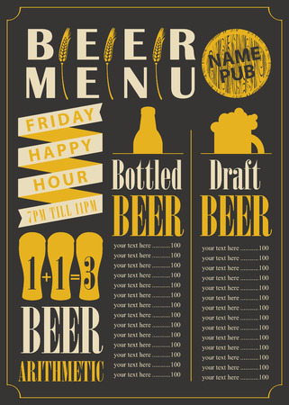draft: menu for the pub for bottled and draft beer with price list