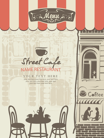outdoor cafe menu with the old town with a table and cups