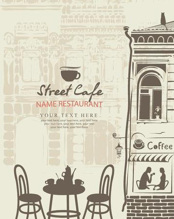 menu bar all'aperto con il centro storico con un tavolo e coppe Vettoriali
