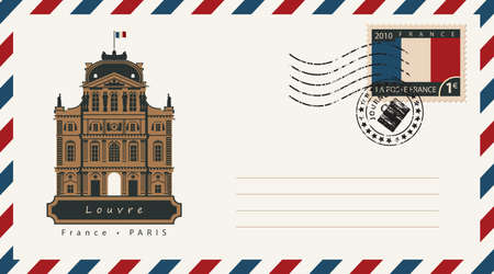 flag: an envelope with a postage stamp with Louvre, and the flag of France