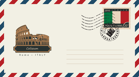 amphitheater: an envelope with a postage stamp with Roman Coliseum, and the flag of Italy