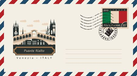 postage stamp: an envelope with a postage stamp with Venezia Puente Rialto, and the flag of Italy