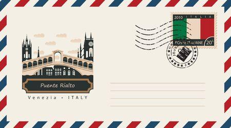 timbre postal: un sobre con un sello de correos con Venecia Puente de Rialto, y la bandera de Italia