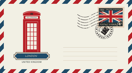 an envelope with a postage stamp with London phone booth, and the flag of United Kingdom