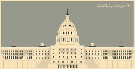 ilustración vectorial edificio del Capitolio en Washington DC Ilustración de vector