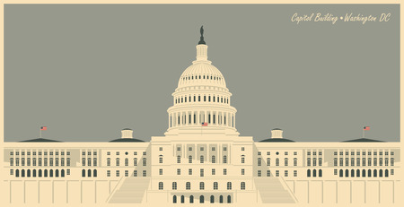 congress: Vector illustration Capitol Building in Washington DC