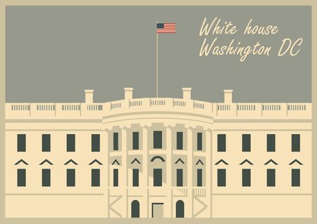 vector illustration white house washington dc with flag