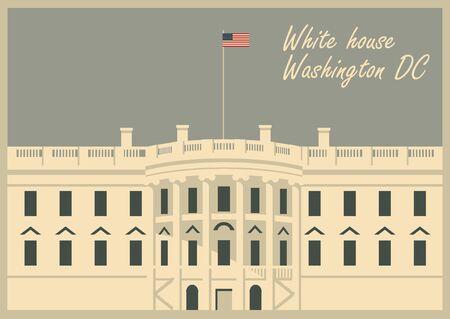 Vector illustratie huis Washington DC met vlag Stockfoto - 70094039