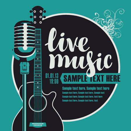 La bandera con una guitarra acústica y un micrófono para el concierto de música en vivo Ilustración de vector