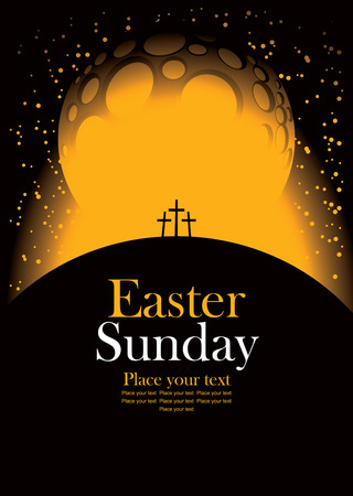 calvary: vector banner for easter with Calvary and crosses against the backdrop of the moon