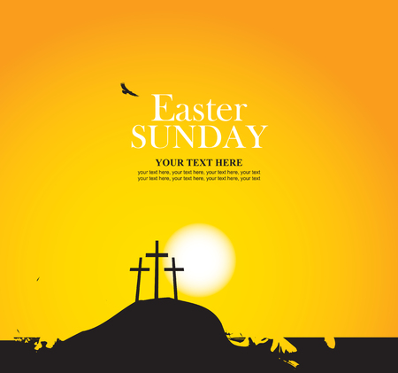 crosses: vector banner for easter with Calvary and crosses against sunset
