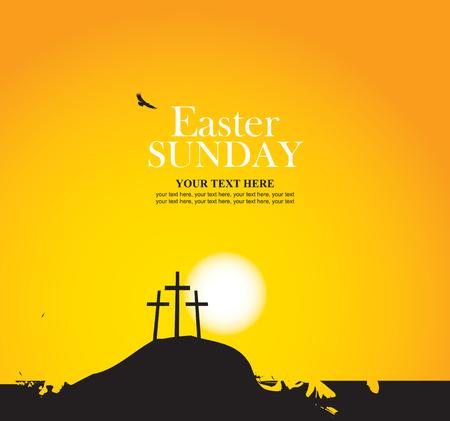 estrella de la vida: vector de la bandera de Pascua con el calvario y cruza contra puesta del sol