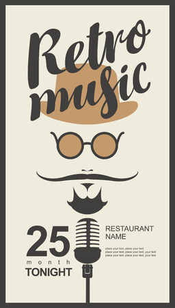 retro glasses: man face with a mustache and wearing a hat and glasses with a microphone and an inscription retro music in hipster style Illustration