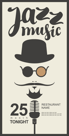 human face: man face with a mustache and wearing a hat and glasses with a microphone and an inscription jazz music in hipster style