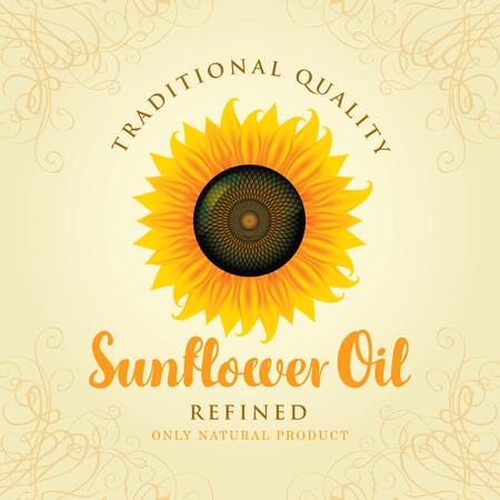 sunflower seeds: vector banner for refined sunflower oil with sunflower Illustration